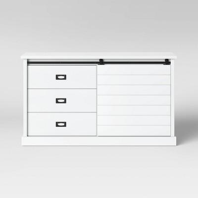 Southwick Farmhouse 3 Drawer/Shelf Dresser with Sliding Barn Door White - Threshold™