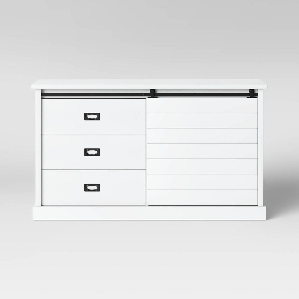 Southwick Farmhouse 3 Drawer/Shelf Dresser with Sliding Barn Door White - Threshold