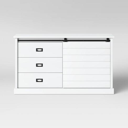 Southwick Farmhouse 3 Drawer Shelf Dresser With Sliding Barn Door White Threshold Target