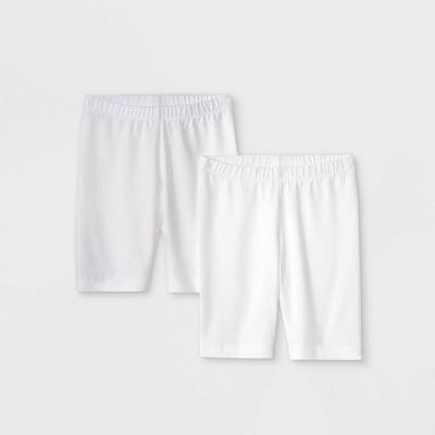 Girls' 2pk Mid-Length Bike Shorts - Cat & Jack™ White