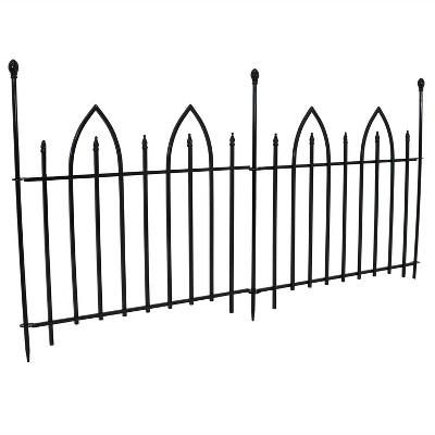 Sunnydaze Outdoor Lawn and Garden Metal Gothic Arch Style Decorative Border Fence Panel Set - 6' - Black - 2pk