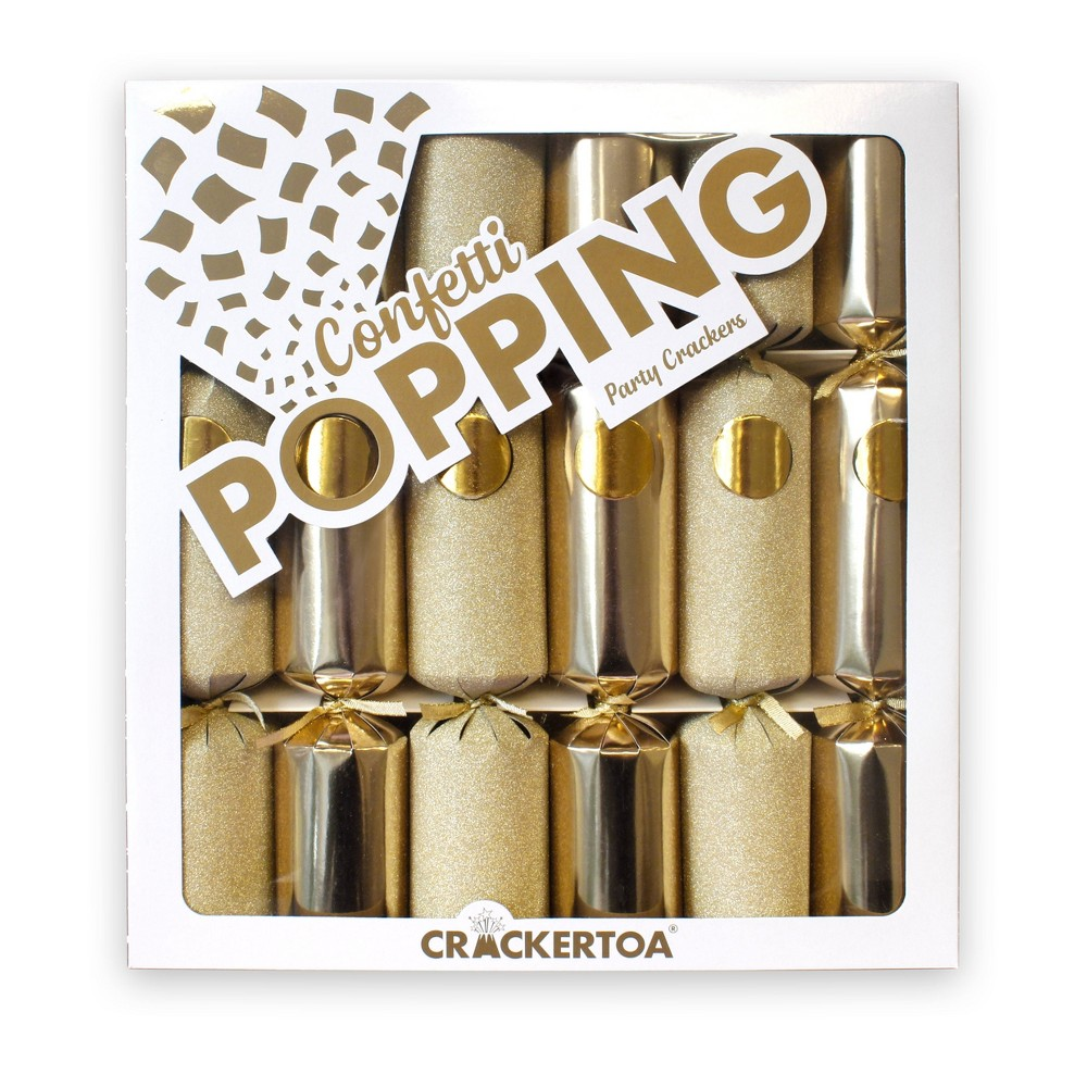 Image of 6ct Confetti Popping Foil & Glitter Party Favours Gold - Crackertoa