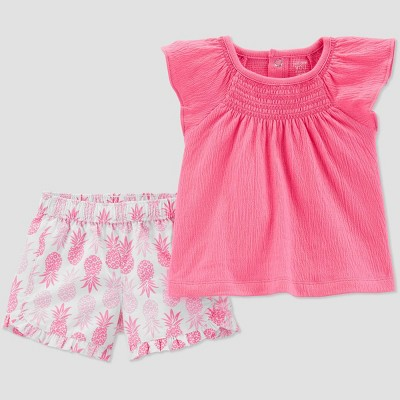 Baby Girls' 2pc Pineapple Print Top and Bottom Set - Just One You® made by carter's Pink/White 9M