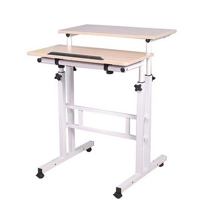 White Rolling Sitting/Standing Reversible Desk with Side Storage - Mind Reader