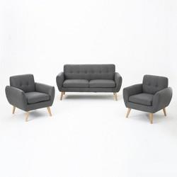 Josephine 3pc Mid Century Petite Sofa and Club Chair Set Dark Gray - Christopher Knight Home