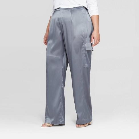 46882e7d286 Women s Plus Size Mid-Rise Wide Leg Satin Cargo Pants - Prologue™ Blue    Target