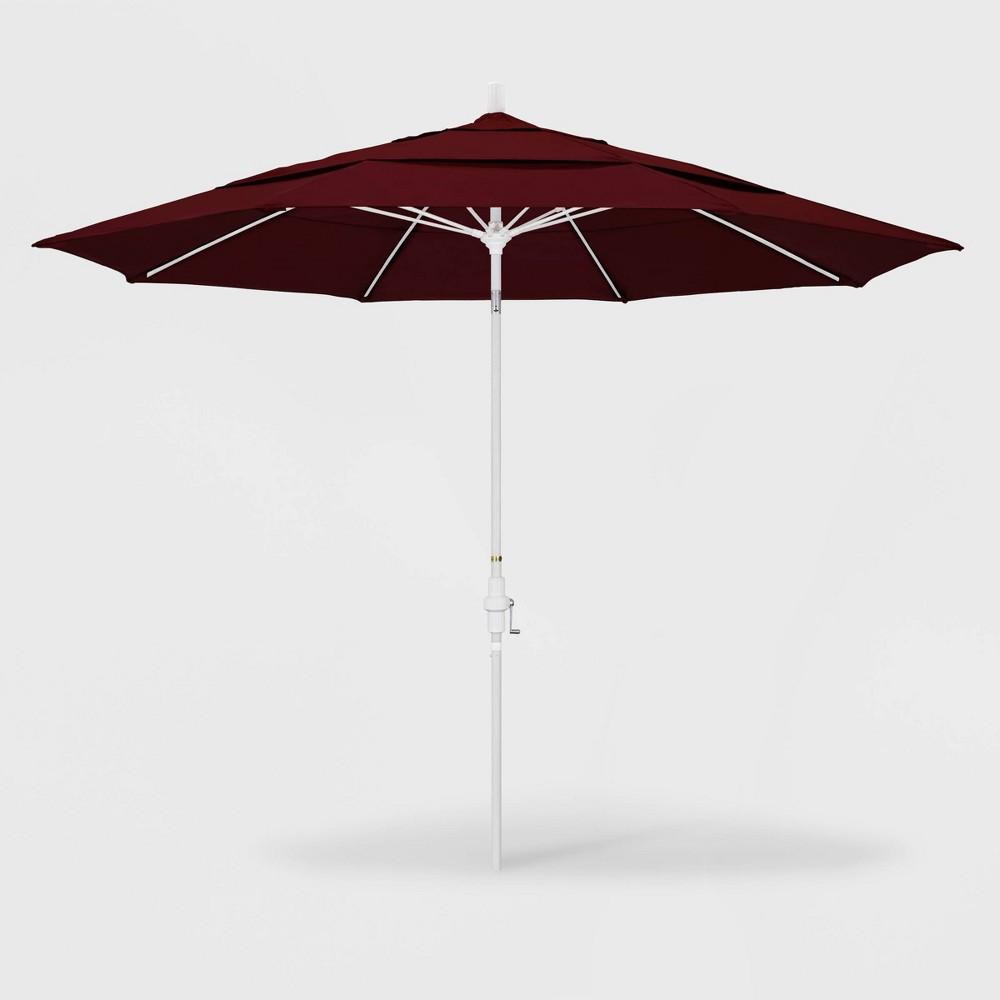 Image of 11' Sun Master Patio Umbrella Collar Tilt Crank Lift - Pacifica Burgundy - California Umbrella