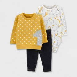 Baby Girls' 3pc Dots Giraffe Print Pullover Top & Bottom Set - Just One You® made by carter's Yellow
