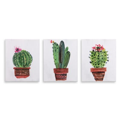 8 x10  3pc Minimalist Potted Cactus Painting Canvas Art Green - Patton Wall Decor