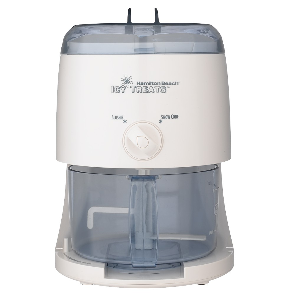 Hamilton Beach Icy Treats Maker - White 68050 Indulge your kids and adult family members with frozen delicacies made with the Hamilton Beach icy treats maker. It delivers shaved ice in just 3 minutes for making multiple flavored snow cones, mixing slushies or whipping up margaritas. This countertop ice machine comes with a mixing bowl for easy preparation of your favorite treats. This kitchen appliance has some dishwasher-safe parts for easy maintenance. An instruction manual allows easy use for first timers. Color: White.