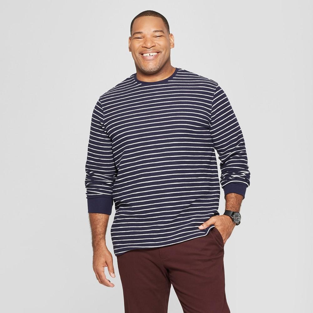 Men's Big & Tall Striped Standard Fit Long Sleeve Textured Crew Neck Shirt - Goodfellow & Co Xavier Navy 3XB