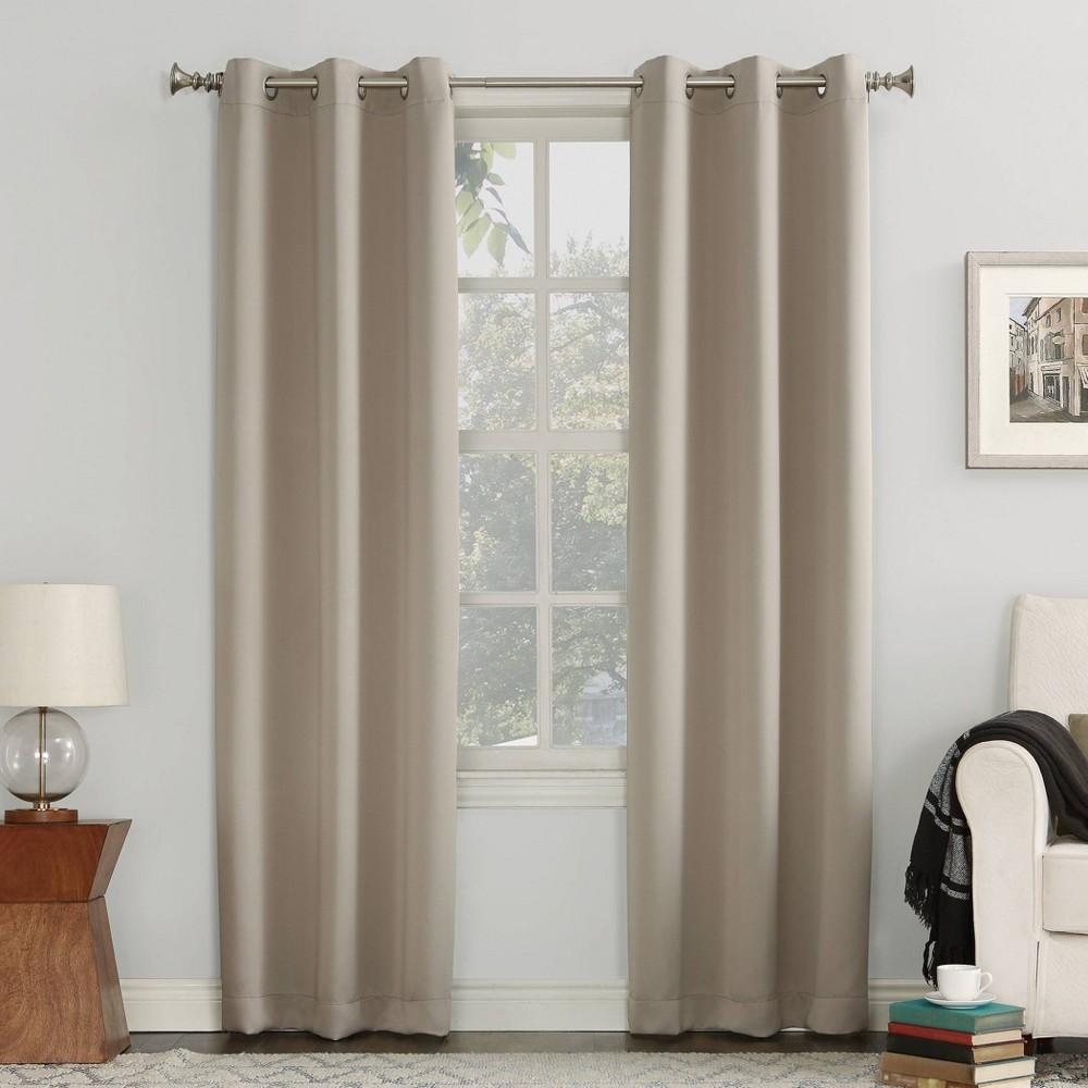 "Image of ""40""""x108"""" Kenneth Blackout Energy Efficient Grommet Curtain Panel Beige - Sun Zero"""