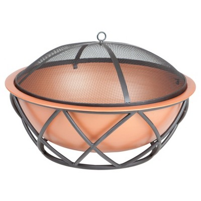 26  Barzelonia Round Copper Look Woodburning Fire Pit - Fire Sense