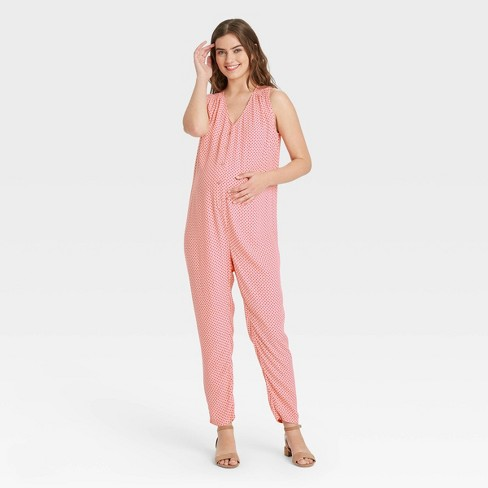 The Nines by HATCH™ Sleeveless Crepe Button-Front Maternity Jumpsuit Pink Polka Dot - image 1 of 3