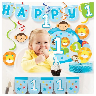 One Is Fun Boy 1st Birthday Party Decorations Kit
