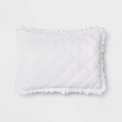 Standard Vintage Washed Ruffle Sham White - Threshold™
