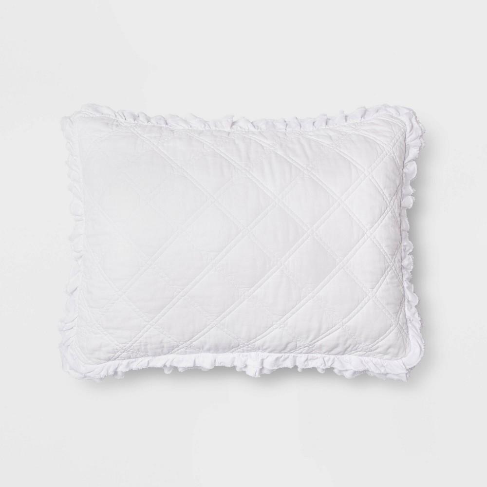 Standard Vintage Washed Ruffle Sham White Threshold 8482