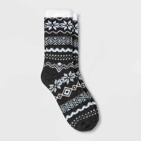 Women's Fair Isle Double Lined Cozy Crew Socks - A New Day™ 4-10 - image 1 of 1