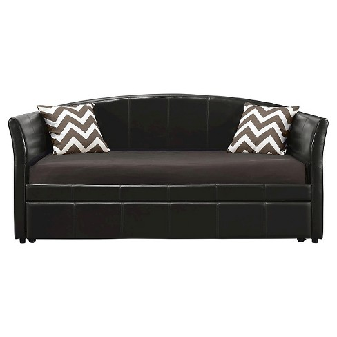 Halle Upholstered Daybed And Trundle Twin Brown/Black - Dorel Home Products - image 1 of 6