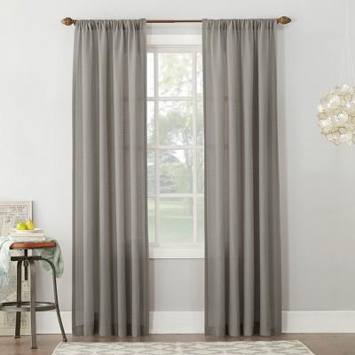 Linen Blend Textured Sheer Rod Pocket Curtain Panel Gray 54 x84  - No. 918