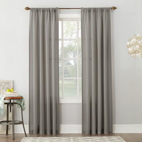 Linen Blend Textured Sheer Rod Pocket Curtain Panel No 918