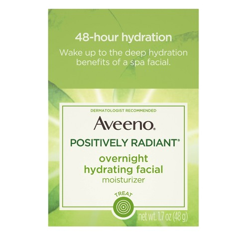 Aveeno Active Naturals Positively Radiant Overnight Hydrating Facial Moisturizer - 1.7oz - image 1 of 8