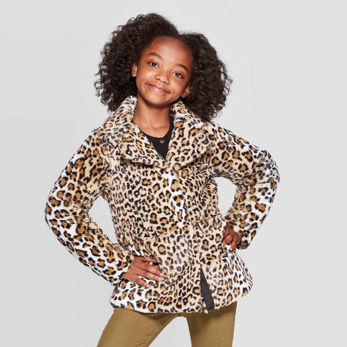 Girls' Leopard Print Faux Fur Jacket - Cat & Jack™ Black - image 1 of 3
