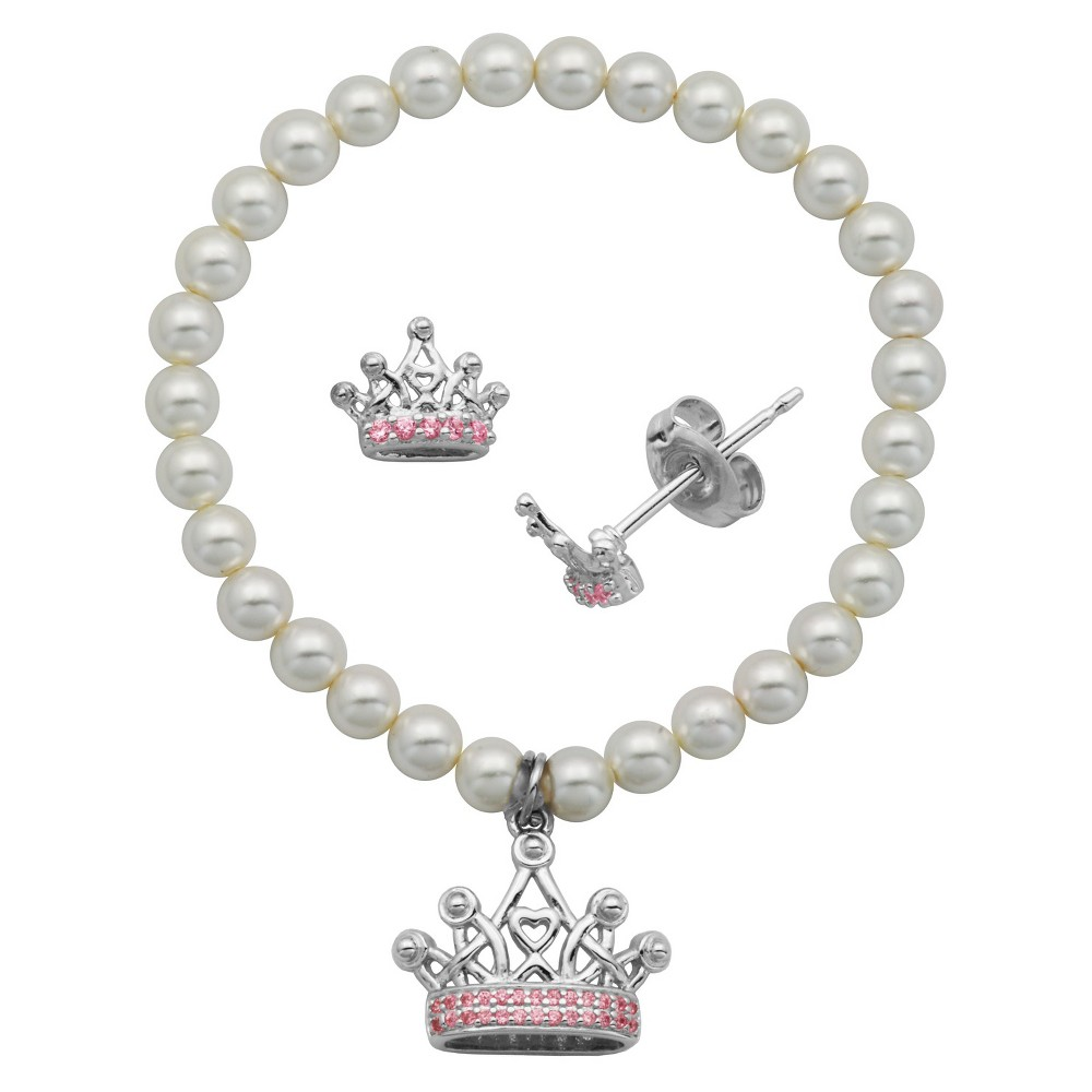 Image of Children's Sterling Silver White Shell Pearl and Pink CZ Crown Stud and Bracelet Combo, Women's, Size: Small