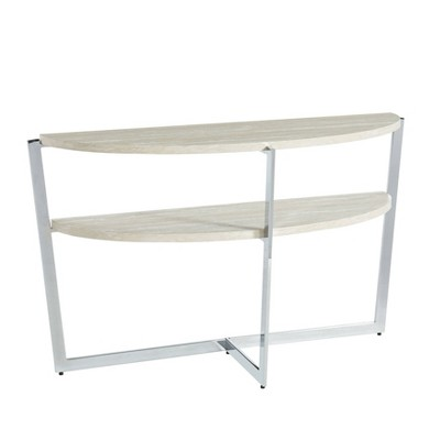 Vrable Crossed Legs Sofa Table White/Chrome - miBasics