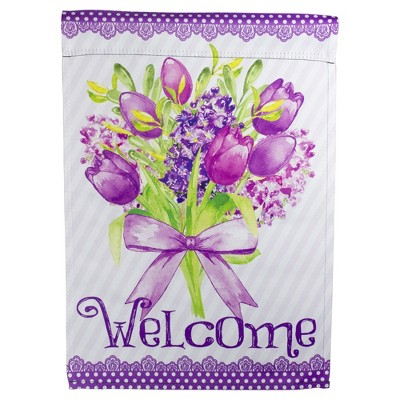 "Northlight Welcome Purple Floral Bouquet Outdoor Garden Flag 12.5"" x 18"""