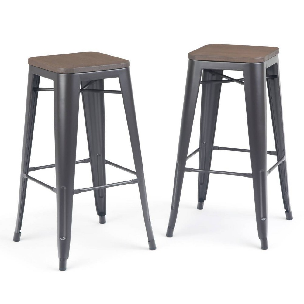 Surprising 30 Set Of 2 Hartley Metal Bar Stool With Wood Cocoa Brown Lamtechconsult Wood Chair Design Ideas Lamtechconsultcom