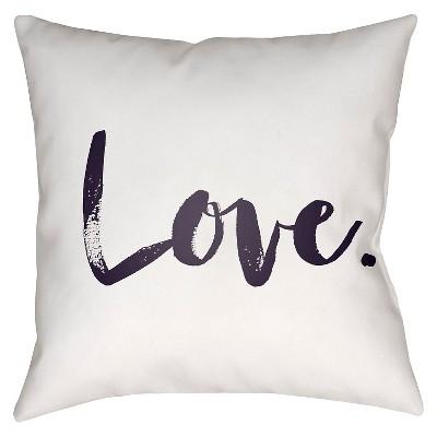 White Signature Love Throw Pillow 16 x16  - Surya
