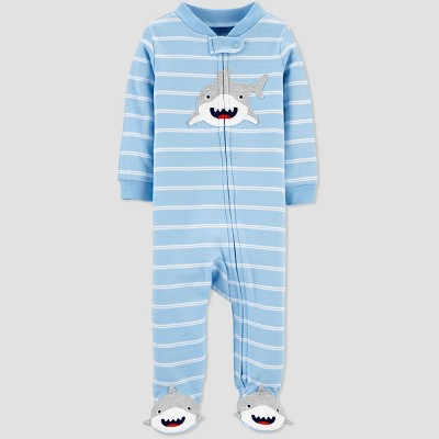 Baby Boys' Shark Striped One Piece Pajama - Just One You® made by carter's Blue 6M