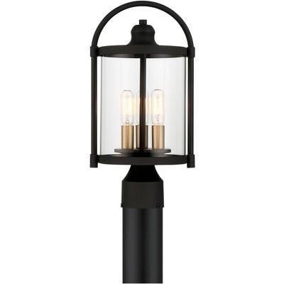 "John Timberland Modern Outdoor Post Light Fixture Black Warm Brass Metal 15 3/4"" Clear Glass Exterior House Porch Patio Outside"