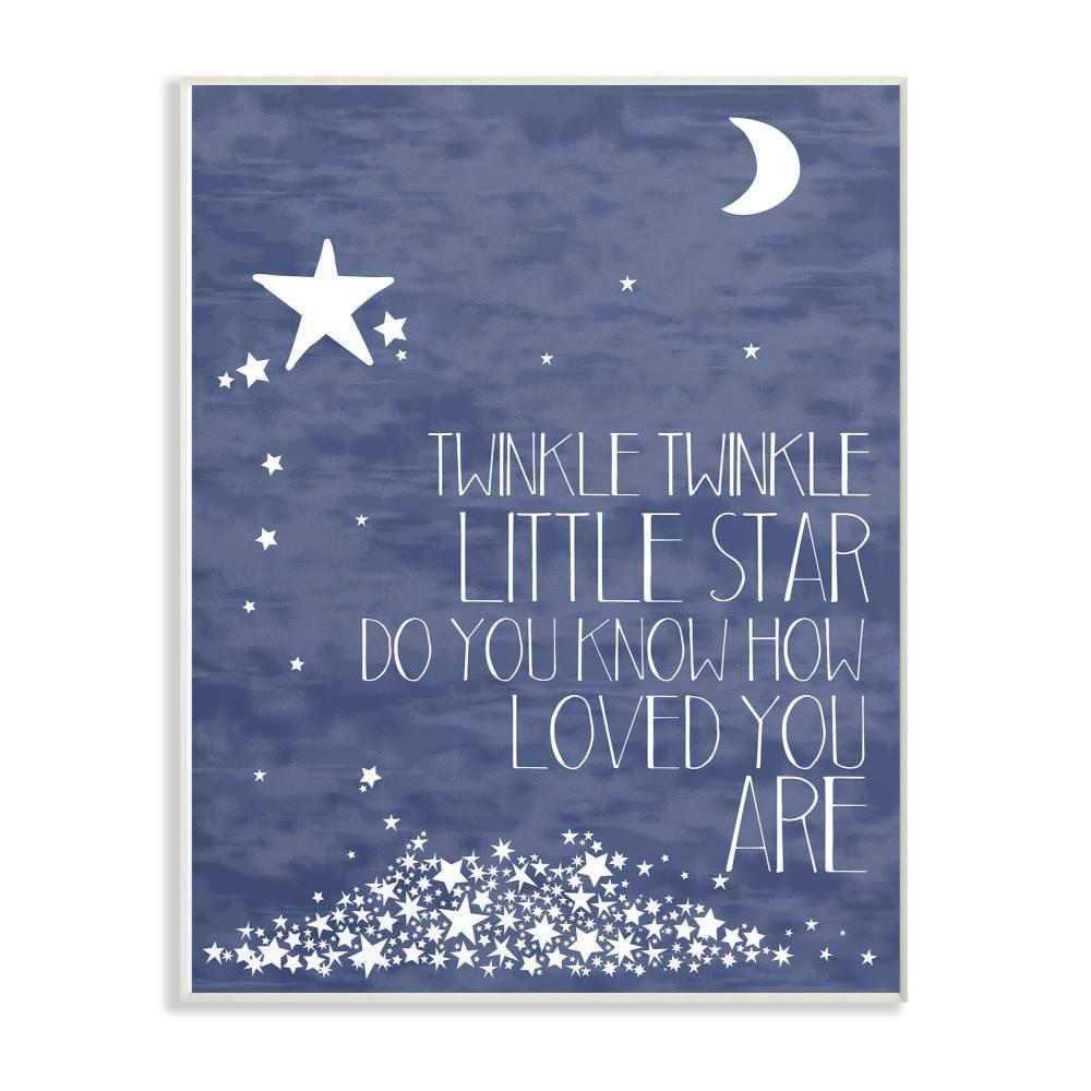 """Image of """"10""""""""x0.5""""""""x15"""""""" Navy Textural Twinkle Little Star Typography Wall Plaque Art - Stupell Industries"""""""