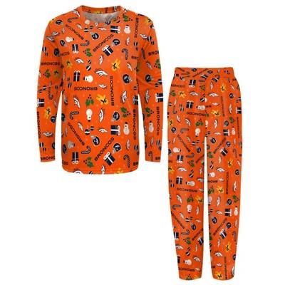 NFL Denver Broncos Boys' End Zone Crew Neck Pajama Set