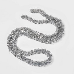 15ft Soft and Silky Christmas Garland Silver - Wondershop™