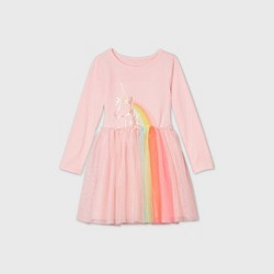 Toddler Girls' Long Sleeve Sequin Unicorn Tulle Dress - Cat & Jack™ Light Pink