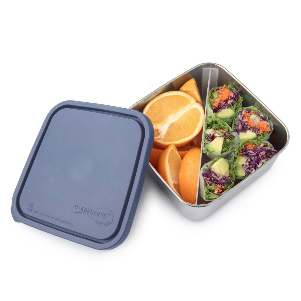 U Konserve To Go Stainless Steel Food Storage Container Bento Square 50oz Ocean Plastic Lid