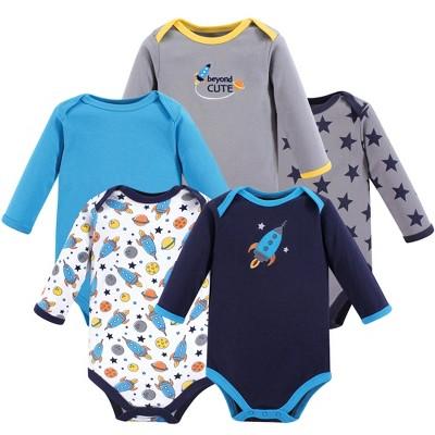 Luvable Friends Baby Boy Cotton Long-Sleeve Bodysuits 5pk, Rocket