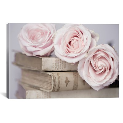 "26""X40"" Vintage Roses By Symposium Design Unframed Wall Canvas Print Buff Beige   I Canvas by I Canvas"