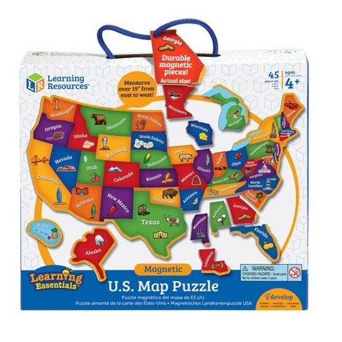 Learning Resources Us Map Magnetic Puzzle 45pc Target - Interactive-us-map-puzzle