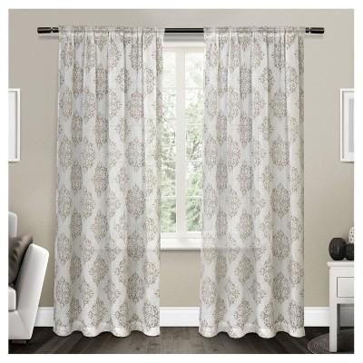Nagano Belgian Linen Ikat Print Rod Pocket Window Curtain Panel Pair Taupe (54 x84 )Exclusive Home