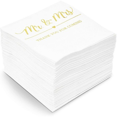 Sparkle and Bash 100x Mr Mrs Gold Foil Disposable Cocktail Napkins for Weddings Party, white 5 inch, 3 Ply