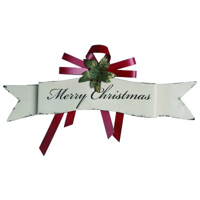 Transpac Metal 34 in. White Christmas Merry Christmas Banner Wall Decor