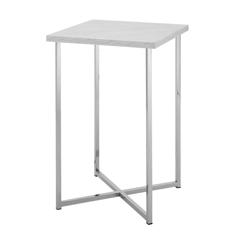 """Image of """"16"""""""" Square Side Table White Marble/Chrome - Saracina Home, White Faux Marble/Grey"""""""