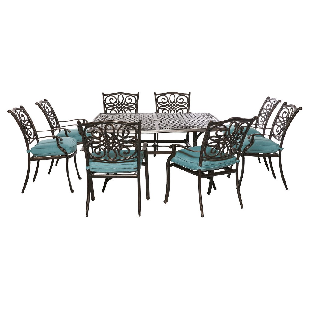 Traditions 9pc Square Metal Patio Dining Set - Blue - Hanover