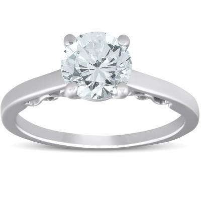Pompeii3 1 1/2 Ct Diamond & CZ Engagement Ring 14k White Gold - Size 7