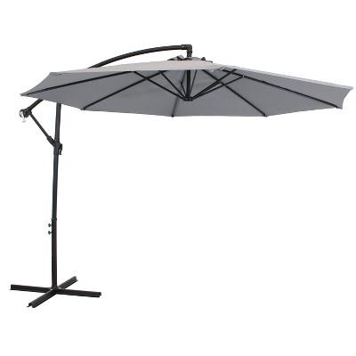 Sunnydaze Outdoor Steel Cantilever Offset Patio Umbrella with Air Vent, Crank, and Base - 9' - Smoke