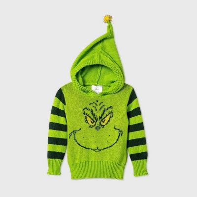 Baby Grinch Hooded Pullover Ugly Christmas Sweater - Green Newborn